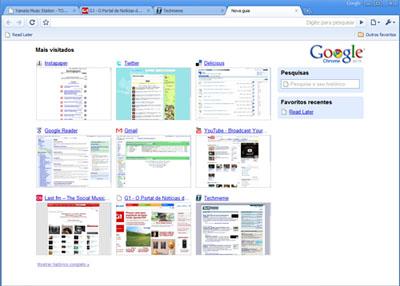 Tela no modo de exibição de nova aba do Google Chrome
