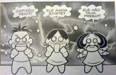 Quadro com o Cebolinha, Magali e Mônica retirado da revista