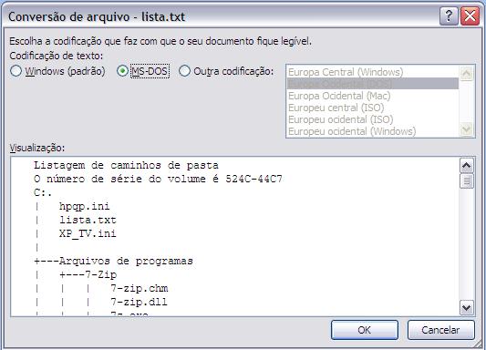Alterando a codificação do arquivo para MS-DOS, utilizando o Microsoft Word