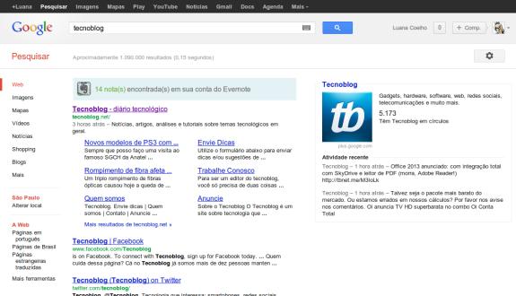 Profile do Google+ na busca do Google